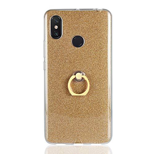 Funda para Xiaomi Mi MAX 3 Carcasa-Brillantes Glitter Bling de Gel de Silicona Soft TPU Cover con 360 °Grados Soporte Rotating Anti-Gota Anillo-Dorado