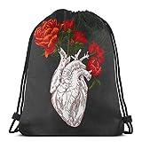 Yuanmeiju Drawing Human Heart with Flowers Shoulder Bolsa con cordón Backpack String Bags School Rucksack Gym Sport Bag Lightweight