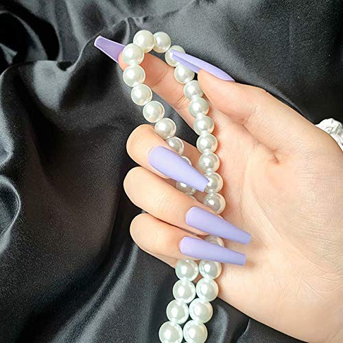 THMY Coffin False Nails Long Fake Nails Ballerina Glossy Stick on Nails Full Cover Acrylic Press on Nails 24pcs for Women and Girls (Lavender)