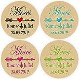 PMSMT DouxArt 100 Pegatinas Personalizadas Merci, 4 CM Flecha corazón Kraft Boda Matrimonio comunión Bautismo Etiquetas de Regalo Hechas a Mano