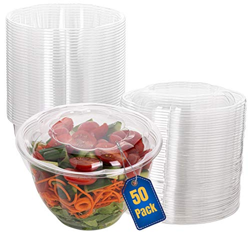 Smygoods Plastic Salad Bowls with lids 48 oz. [50 Sets] Disposable Salad Bowls With Airtight Lids,