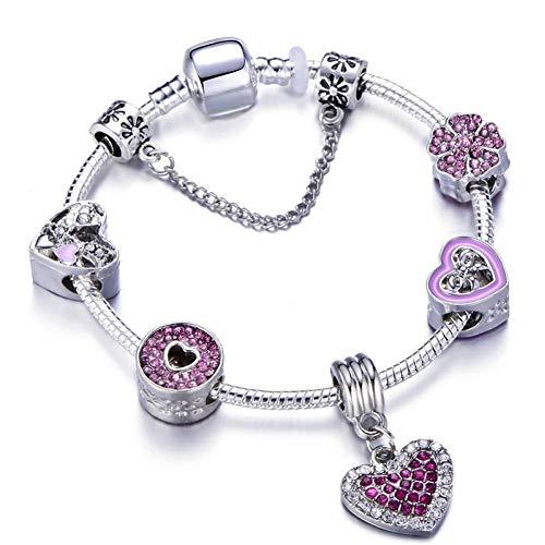 YIYYI HQXIZ Armband Roze Hart Hanger Merk Armbandsbangles Boog Cupid Pijl Kralen Bedel Armband Voor Vrouwen Sieraden