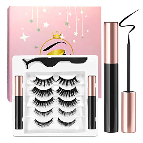 Ceaver Magnetic Eyelashes with Eyeliner Set - 2 Magnetic Eyeliner Pencils Waterproof Magnetic Eyelash Eet with 5 Pairs of Reusable Magnetic Eyelashes in Different Styles for Easy Wear