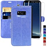 Galaxy S8 Wallet Case, 5.8 inch,MONASAY [Included Screen Protector] Flip Folio Leather Cell Phone Cover with Credit Card Holder for Samsung Galaxy S8
