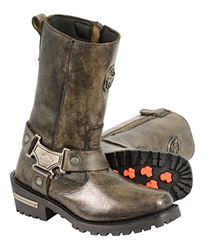 Ladies Classic Motorcycle Harness Boot in Distressed Brown Leather (Size 10.5)