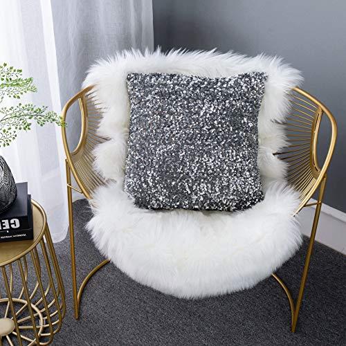 Ligicky - Fundas de cojín con lentejuelas, cuadradas, decorativas, para sofá, dormitorio, decoración del hogar, fiesta, 45 x 45 cm, color gris plateado