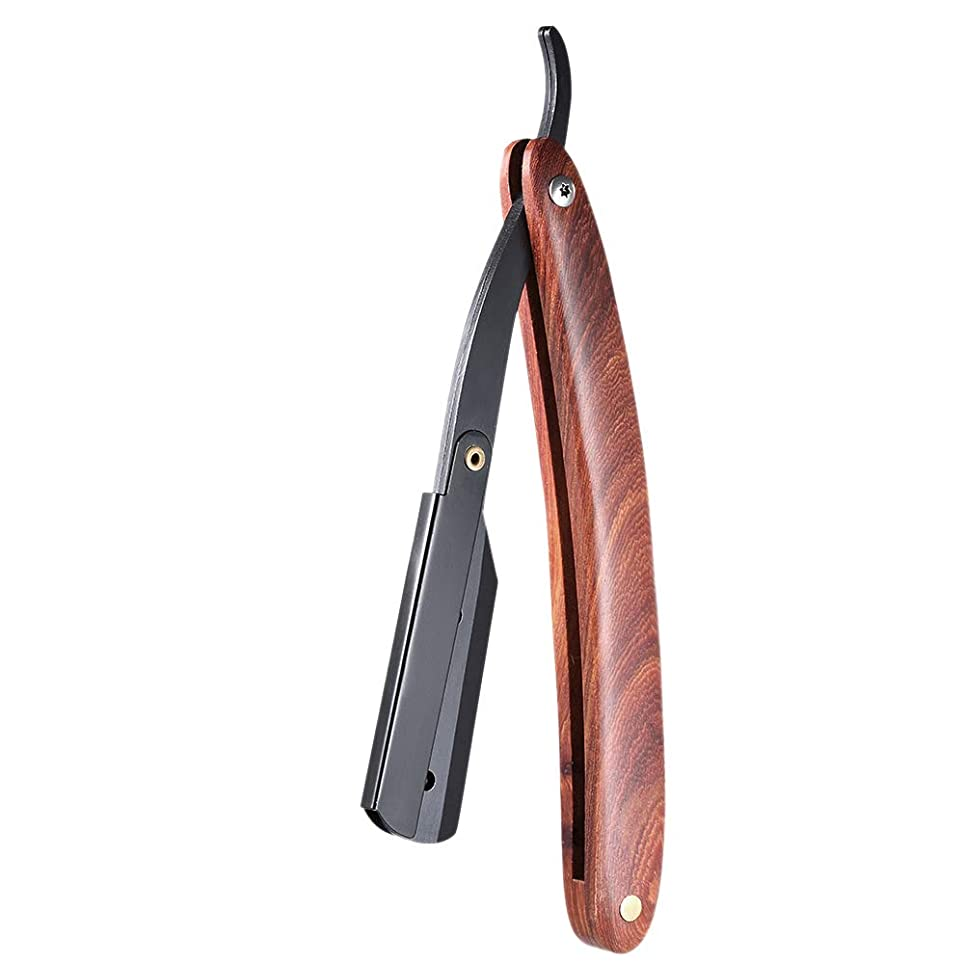 ヒギンズ枠金属TOOGOO 男性用シェービングのカミソリ、ストレートなエッジ、ステンレス鋼、手動かみそり、木製ハンドル、折りたたみ式シェービングナイフ、剃り、ひげのカッター、ポーチ