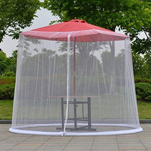 Pantalla Exterior del Paraguas Cubierta Mosquitero jardín al Aire Libre Paraguas Parasol Tabla Mosquito Cubierta de la Red (Color: Negro, tamaño: 275 * 230 cm) ZDWN