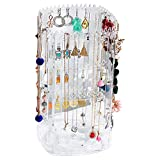 360 Rotating Earring Holder Stand 4 Tier Clear Display Jewelry Organizer with 168 Holes and 168 Grooves (11.4x6.2x6.2 inch)