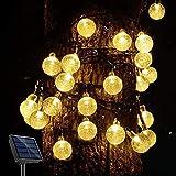 PORTHOLIC - Cadena de luces solares para exteriores, 9,5 m, 50 luces LED, 8 modos, control inteligente de la luz, IP44, resistente al agua, para patio trasero, árboles, fiestas, etc.