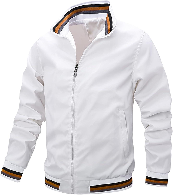 FORUU Mens Windbreaker 2021 Casual Windproof Jacket Zip Up Lightweight Coat Sportswear Jacket Windbreaker Jacket