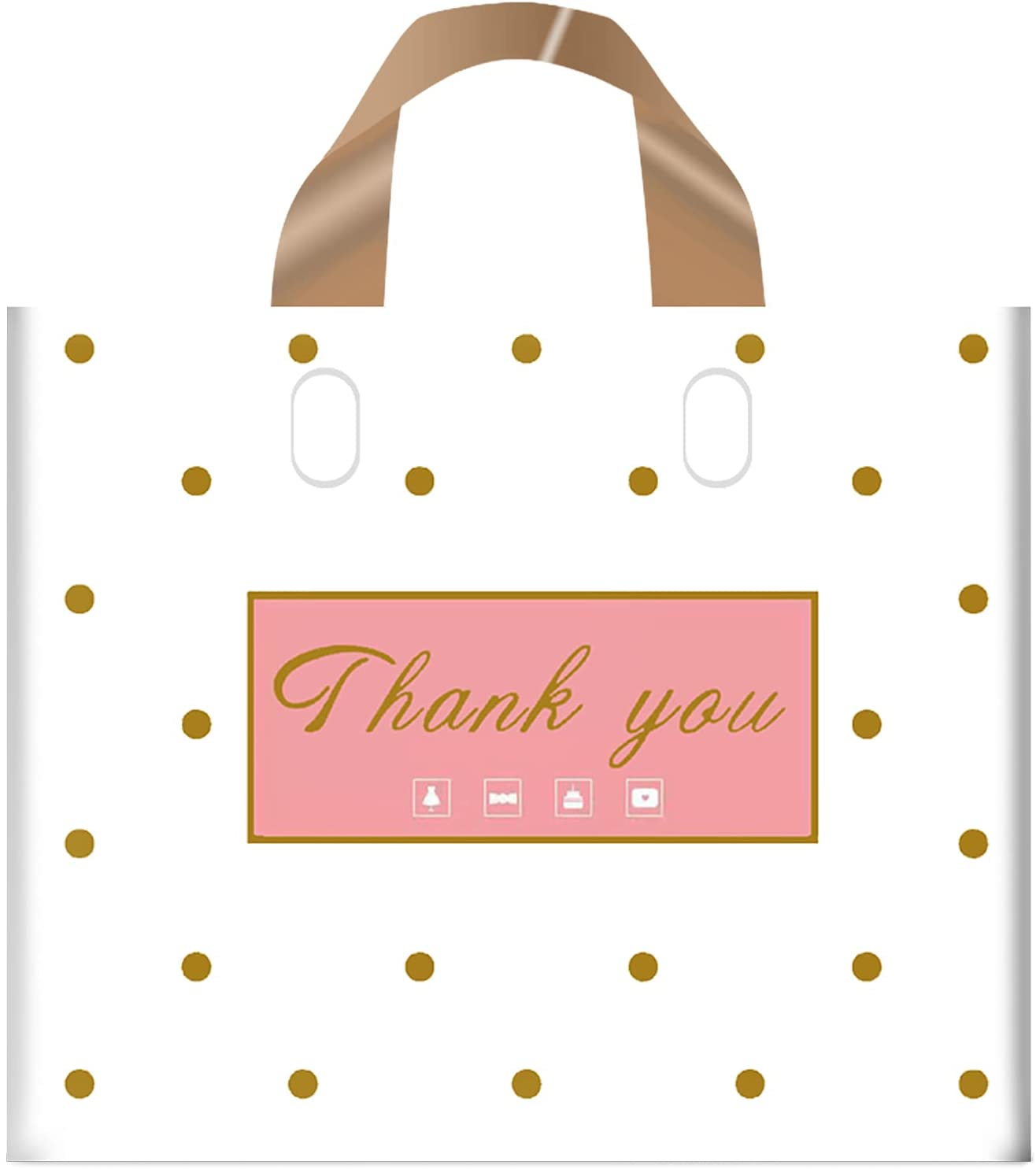 Thank You Bags Shopping Bags, 50 Pack Extra Thick Bulk Merchandise Bags Plastic Boutique Bags for Small Business Plastic Retail Gift Bags with Loop Handle for Customers Parties Favors Goodies (Dot, M(12x14Inch))