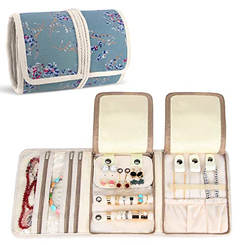 Teamoy Jewellery Roll, Travel Jewellery Organiser for Necklaces, Earrings, Bracelets, Brooches and more, Jewellery Wrap with Various Departments, Plum Flowers
