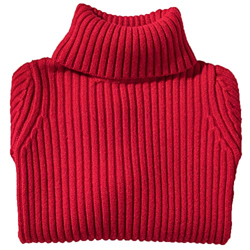 Shengwan Rollkragenpullover Kinder Mädchen Jungen Warm Herbst Winter Langarm Strickpullover Rot 120