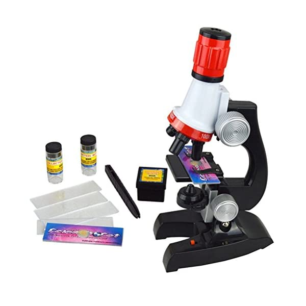 Science Kits for Kids for Children Scientific Instruments Microscope Beginner Microscope Kit LED 100X, 400x, and 1200x Magnification Kids Science Toys Red