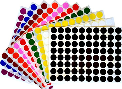 "Royal Green Color Coding Labels 1/2"" Round Dot Stickers, Black/White/Red/Green/Yellow/Pink/Purple/Orange/Brown/Blue, 880 Count."