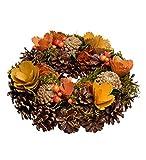 HEITMANN DECO Bunter Herbstkranz - Herbstdeko Natur mit Blumen, Türkranz zum Aufhängen, Tischdeko - Braun, Orange, Gelb, Grün - Ø ca. 25 cm