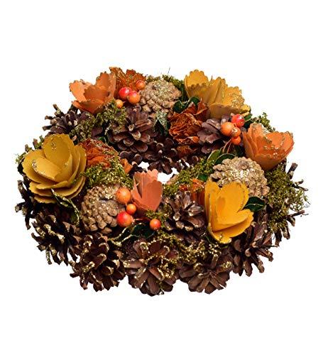 Heitmann DECO Corona autunnale colorata – Decorazione autunnale naturale con fiori, ghirlanda per porta da appendere, decorazione da tavolo, marrone, arancione, giallo, verde, Ø ca. 25 cm