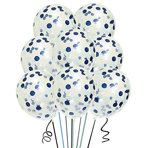 Starparty 12 inches Confetti balloons 15 Pack , Clear Balloons with Navy&Light Blue Confetti For Wedding Decorations Party Decorations And Proposal Birthday Party