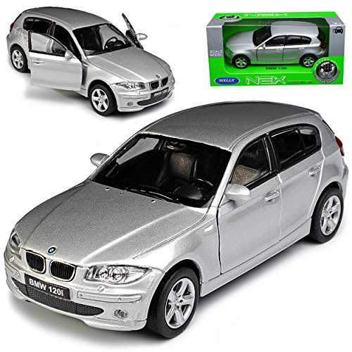 B-M-W 1er E87 1. Generation 5 Türer Silber 2004-2013 ca 1/43 1/36-1/46 Welly Modell Auto mit individiuellem Wunschkennzeichen
