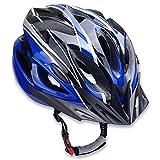 サイクリングや通勤で大切な頭を守る!スタイリッシュなデザインで軽い素材のサイクリングヘルメットです。  首や肩への負担をできるだけ減らすための軽量設計。日常的に自転車に乗られる方やロードバイクでロングライドを楽しむ方などにおススメです。通気孔を多くして風通しをよくすることによって、蒸れにくくし熱がこもるのを防いでいます。 サイズはヘルメット裏側で調節可能ですので、男女問わずお使い頂くことが可能です。 【セット内容】サイクリングヘルメット×1点 【カラー】ブルー×ブラック 【サイズ】詳しくは画像を...