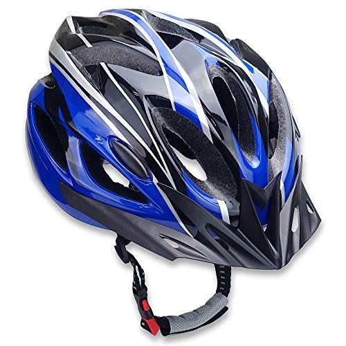 TSfactory サイクリング ヘルメット 自転車 通勤 通学 スポーツ サイズ調節可能 軽量 通気性 男女兼用 (ブラック×ブルー)