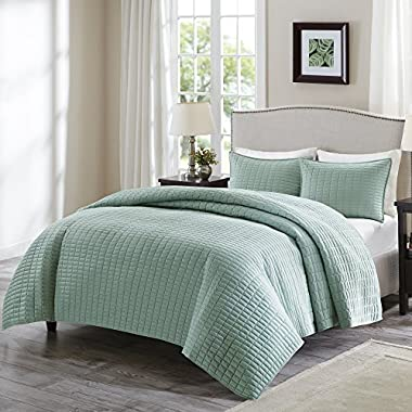 Comfort Spaces - Kienna Quilt Mini Set - 3 Piece - Seafoam - Stitched Quilt Pattern - Full/Queen size, includes 1 Quilt, 2 Shams