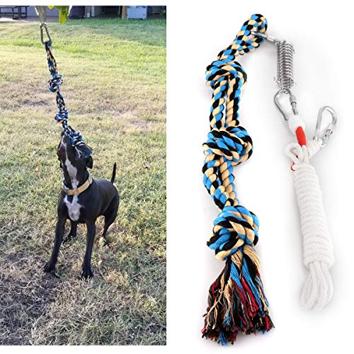Lovinouse Spring Pole Dog Rope Toy, Strong Tug of War Toys for Pitbull, Medium or Large Dogs, Outdoor Hanging Exercise Play Pull Dog Toys Muscle Builder