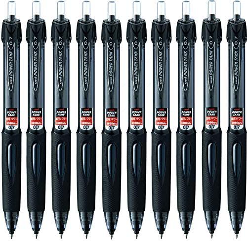 Power Tank Ballpoint Retractable & Fine Ballpoint Pen Rubber Grip Type-0.7mm-black Ink-value Set of 5  2 Sets - total 10 count)