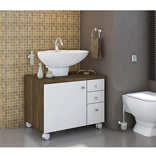 Gabinete para Banheiro 3 Gavetas Cedro e Branco