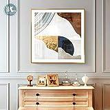 Wfmhra Impresión de Lienzo Abstracta Dorada Pintura Pintura Cartel de lámina de Oro Cuadrado Cuadro de Arte de Pared en Lienzo Sala de Estar Oficina decoración del hogar 50X50cm sin Marco