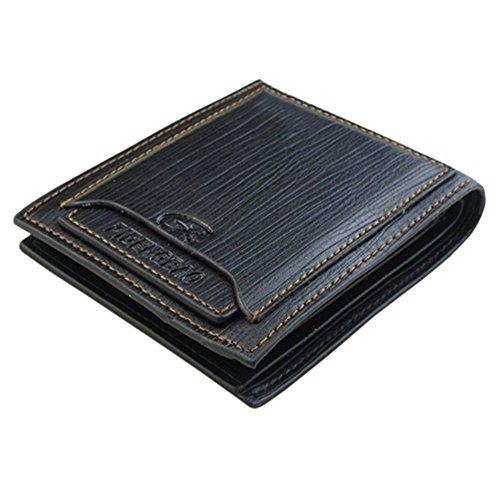 Broadfashion Taschen Kredit-ID-Karten Männer Cowboy Klassische Leder Geldbeutel Wallet Portemonnaie Herren (Schwarz)