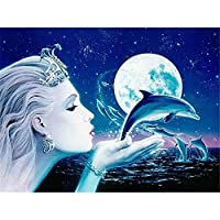 DIY 5Dダイヤモンド絵画キット、クロスステッチクラフトキットラインストーン刺繡ウォールステッカーリビングルームクラフトの家の壁の装飾のための貼り付けられた絵-女の子とイルカ-50x60cm