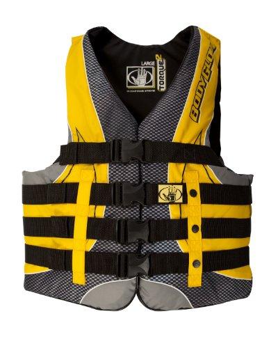 Body Glove Men's US Coast Guard Approved Type III Torque 2 Nylon PFD Life Vest (Black/Yellow, X-Large)