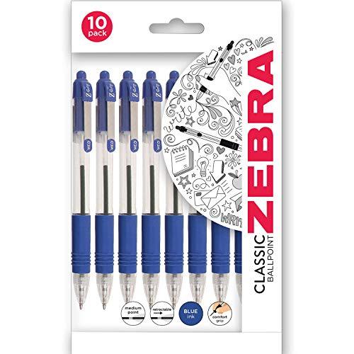 Zebra Z Grip 1.0 mm Ballpoint Pen - Blue (Pack of 10)