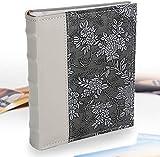 Victoria Collection - Album photo 6 x 4 cm - Design esthétique pour 200 photos de taille 4 x 6 cm - Facile à utiliser avec encarts durables et espace supplémentaire pour mémos, Fleur argentée, Flower