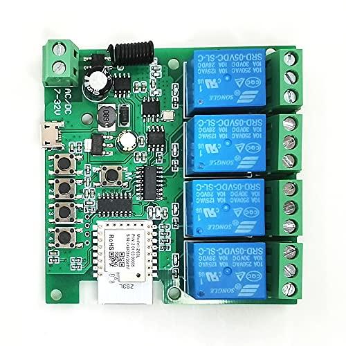 Interruptor de luz inteligente 4 vías DC 5V / 32V Módulo de interruptor Soporte Tuya WIFI 2.4Ghz Alexa Smart Home Módulo de relé 10A para Zigbee
