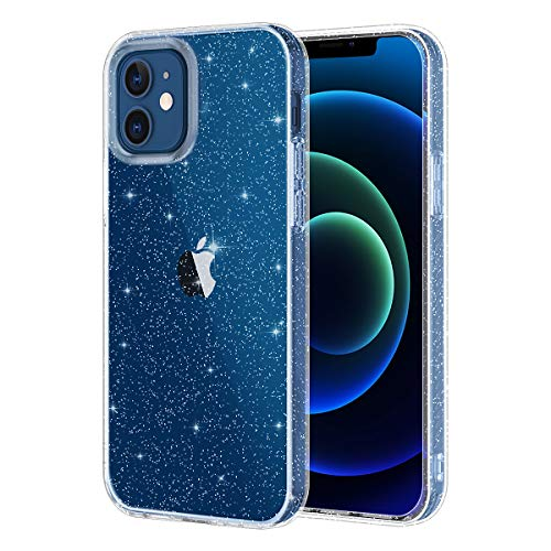 Lamcase Compatible with iPhone 12 Case 6.1 inch and iPhone 12 Pro Case 6.1 inch (2020), Bling Sparkly Glitter Shiny Soft Flexible TPU Slim Fit Drop Protection Shockproof Cover Case, Clear Glitter