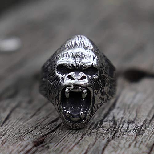 DSBN Vintage Wild The Beast Gorilla Edelstahl Ring Herren Biker Schmuck 9