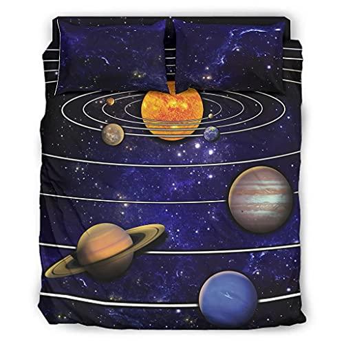 STELULI Juego de cama de 4 piezas con sistema solar individual con impresión cálida – Sistema solar funda de cama blanca 240 x 264 cm