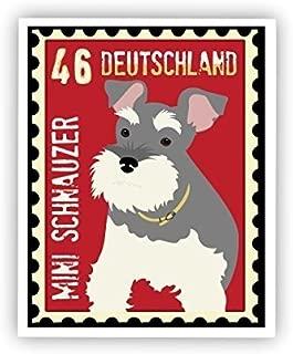 Miniature Schnauzer Dog Art Postage Stamp 11x14