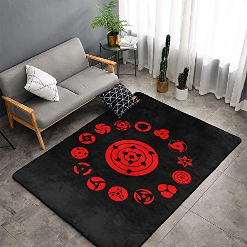 XIAODONG Naruto Uchiha Sharingan Teppich, superweich, Kunst-Dekoration, Polyester, für Wohnzimmer, Schlafzimmer, Küche, Schlafzimmer, Kinderzimmer, 152,4 x 99,9 cm