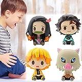 SAITENDATN 4 Pcs Kimetsu no Yaiba PVC Doll Cute Car Home Decoration, Cool Anime Character Toy, Action Figure Statues Safe Figure Model Doll, Collectible Toy for Boys Girls (Zenitsu Anime Figure(4pcs))