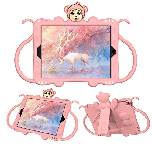 JCTek Protective Kids Case for Suitable for iPad Air/iPad Air 2 Case (9.7'), Cute Cartoon Monkey Shockproof Handle Stand Shoulder Strap Kids Case (rose gold)