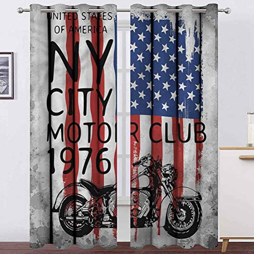 """Living Room Curtain American Flag Soundproof Window Curtain Panels NYC Motorcycle Club for Bedroom & Kitchen 2 Grommet Top Curtain Panels,42"""" W x 54"""" L"""