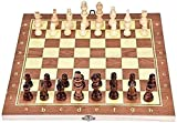 DJRH Conjunto de Juego de Juego de ajedrez estándar de Madera magnética Plegable con Piezas de Madera y tragamonedas de Almacenamiento de ajedrez (9.8 'x 9.8')