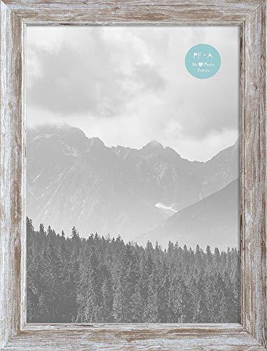 A4 / 29,7 x 21cm Bilderrahmen/Fotorahmen, Abgenutzter-Holzeffekt Rahmen Mit Glasfenster, Gebeizter Landhausstil