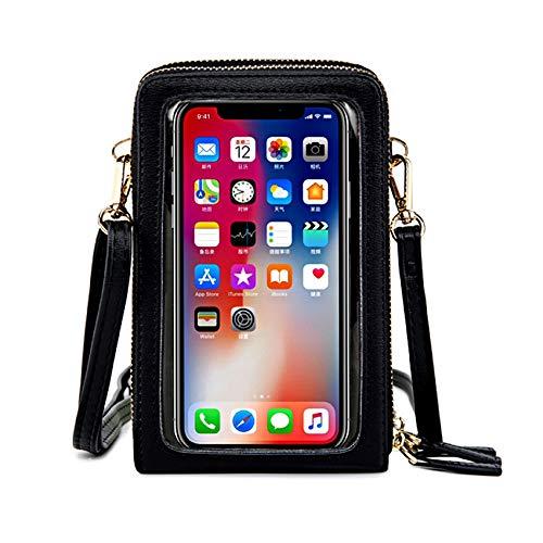 IOOI Bolso bandolera para mujer, para pantalla táctil, resistente al agua, bolso de mano, de piel, para mujer, cartera, retro, para iPhone 11 Pro/11/XS, color Negro, talla X-Large