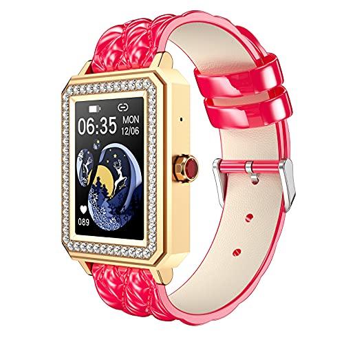 QFSLR Smartwatch Reloj Inteligente Mujer con Ciclo Menstrual Femenino Monitor De Frecuencia Cardíaca Llamada Bluetooth Monitor De Presión Arterial Monitoreo De Oxígeno En Sangre,Rosado