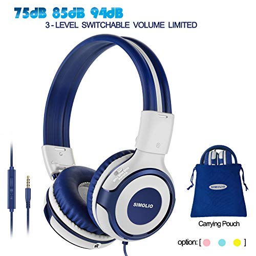 SIMOLIO Wired Headsets for Teens, Headsets for Kids with 94dB,85dB,75dB Volume Limited, Kids Headphones with Microphone, Boys Headphone with Share Port, On-Ear Headphone for School/Travel(Grey)